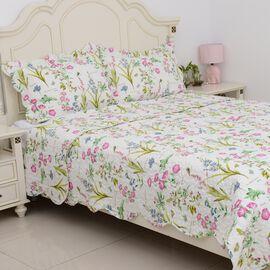 3 Piece Set  - Floral Pattern Quilt (Size 240x260Cm) and 2 Pillow Case (Size 2x50x70+5 Cm)