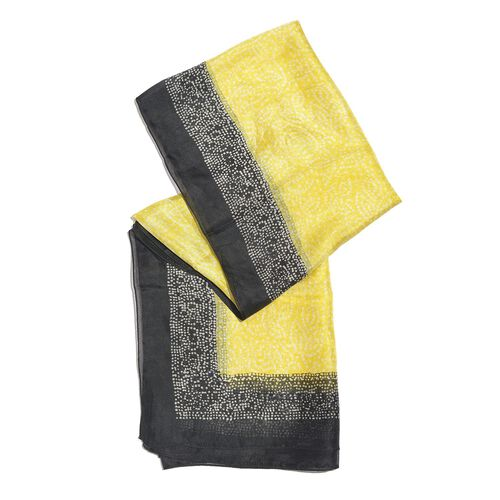 100% Mulberry Silk Yellow, Black and White Colour Handscreen Swiss Dot Printed Scarf (Size 200X180 Cm)