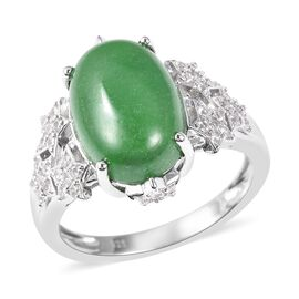 Green Jade (Ovl 14x10 mm), Natural White Cambodian Zircon Ring in Rhodium Overlay Sterling Silver 7.