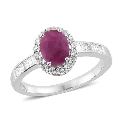ILIANA 18K White Gold AAA Burmese Ruby (Ovl 1.60 Ct) Diamond (SI/G-H) Ring 2.000 Ct.