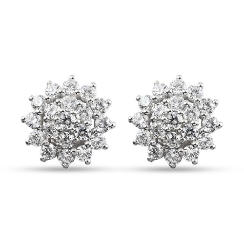 J Francis Platinum Overlay Sterling Silver Cluster Floral Earrings (with Push Back) Made with SWAROV