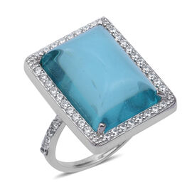 ELANZA Simulated Aquamarine and Simulated Diamond Halo Ring in Sterling Silver 4.09 Grams