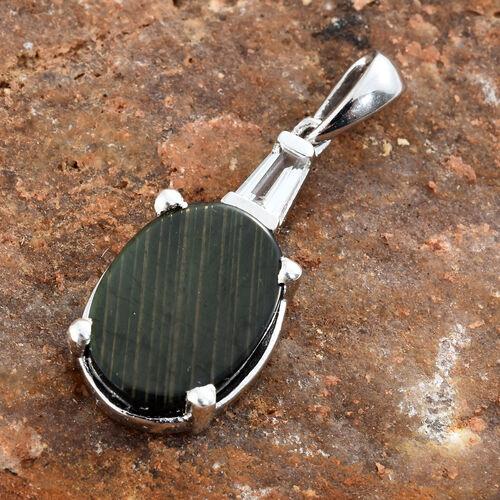 Natural Spectrolite (Ovl 2.50 Ct), White Topaz Pendant in Platinum Overlay Sterling Silver 2.750 Ct.