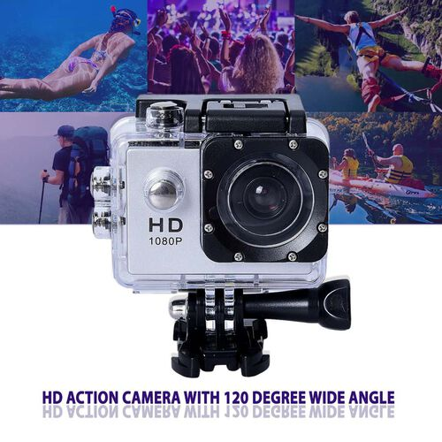 Waterproof 1080P HD Action Camera 120 Degree Wide Angle Lens with 400mAh Battery, 4GB Card, USB Cable (Size 6.0x4.1x3.0 Cm) - Silver and Black