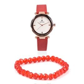 2 Piece Set - STRADA Japanese Movement Austrian Crystal Studded Water Resistant Watch with Stretchable Red Beads Bracelet (Size 6.75)