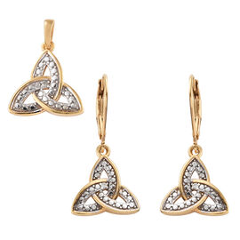 Diamond 14K Gold Overlay Sterling Silver 2 Pcs Earring and Pendant Set  0.030  Ct.