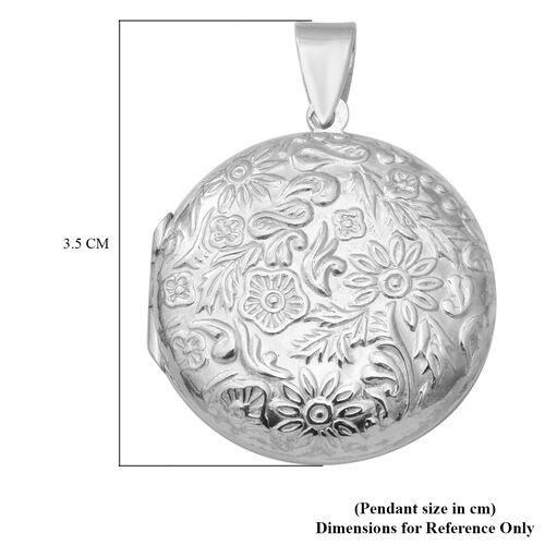 Rhodium Overlay Sterling Silver Flower Engraved Locket Pendant, Silver wt. 7.00 Gms