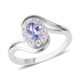 Tanzanite (Ovl), Natural White Cambodian Zircon Swirl Ring in Rhodium Overlay Sterling Silver 1.00 C