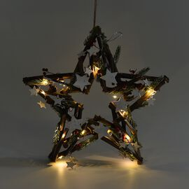 Twig star with LED light with hanger, 15 LED warming light - colour: golden, red, white -  batteries