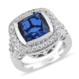 6 Carat Minas Gerais Twilight Quartz and Zircon Halo Ring in Platinum Plated Silver 6.40 Grams
