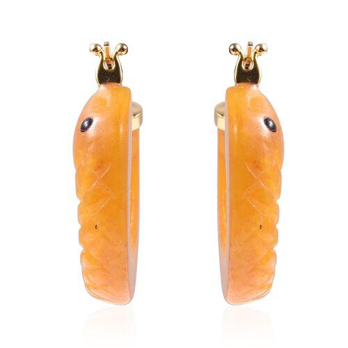 49.50 Ct Yellow Jade Snake Hoop Earrings in Gold Plated Silver