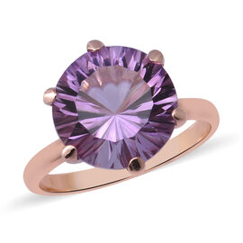 Rose De France Amethyst Solitaire Ring in Rose Gold Overlay Sterling Silver 6.50 Ct.