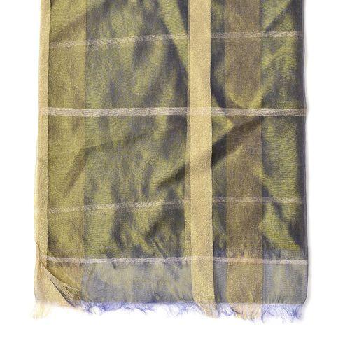 New Season-Khakhi Colour Scarf with Golden Threads (35% Silk Content)  (Size 180x70 Cm)