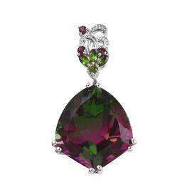 GP 27.61 Ct Bi Colour Tourmaline Quartz and Multi Gemstone Drop Pendant in Platinum Plated Silver
