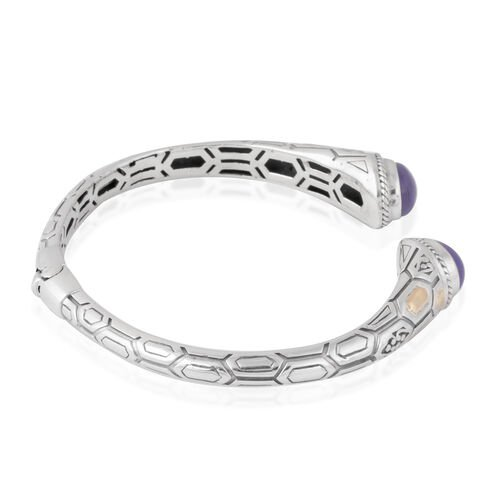 Limited Available-Purple Jade (Ovl 10x8 mm) Bangle (Size 7) in 18K Yellow Gold and Sterling Silver 6.830 Ct, Metal wt 16.48 Gms.