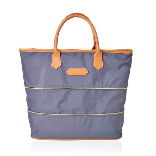 Classic Grey Colour Foldable Waterproof Large Tote Bag (Size 44X34X12 Cm)