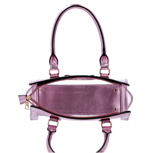 2 Piece Set - Metallic Pink Colour Bowknot Satchel Bag (Size 28x12x16cm) with Zipper Closure and Pouch Bag (Size 20x7x15cm)