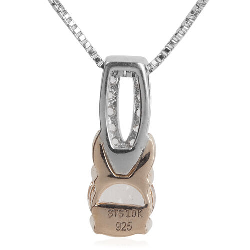 Marropino Morganite Round, White Topaz Pendant with Box Chain in Rhodium and Rose Gold Overlay Sterling Silver 0.75 Ct.