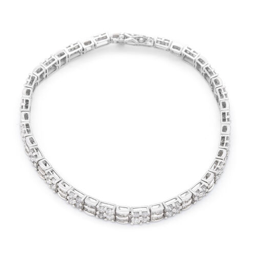 10K White Gold Independent Laboratory USA Certified Diamond (I1-I2/G-H) Bracelet (Size 7.5) 5.04 Ct, Gold wt 10.20 Gms