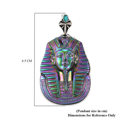Sajen Silver - Pharaoh Carved Simulated Emerald and Celestial Peridot Doublet Quartz Enamelled Pendant in Sterling Silver