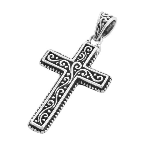 Royal Bali Collection - Sterling Silver Cross Pendant, Silver wt. 3.20 Gms