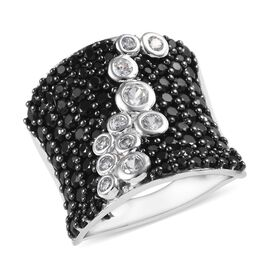 GP Boi Ploi Black Spinel (Rnd), Natural Cambodian Zircon and Blue Sapphire Ring in Platinum Overlay