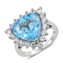 TJC Launch - Marambaia Topaz (Trl 12.00 Ct), Natural Cambodian Zircon Ring in Platinum Overlay Sterl