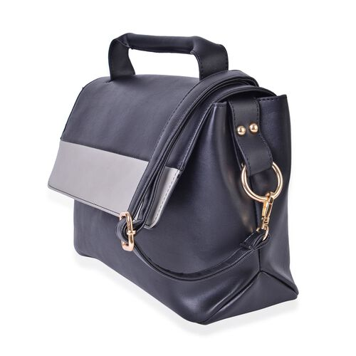 Black and Grey Colour Crossbody Bag with Adjustable and Removable Shoulder Strap (Size 30X22X2 Cm)