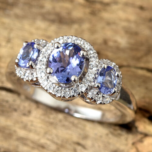 Tanzanite (Ovl), Natural Cambodian Zircon Three Stone Halo Ring in Platinum Overlay Sterling Silver 1.250 Ct.