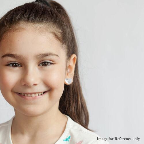 Heart Earrings for Children with Zircon in Sterling Silver