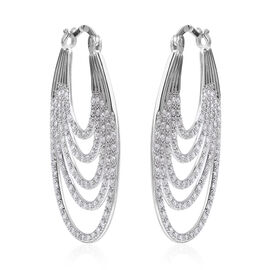 ELANZA Simulated Diamond Multilayer Hoop Earrings in Rhodium Plated Sterling Silver