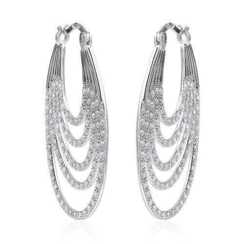 ELANZA Simulated Diamond Multilayer Hoop Earrings in Rhodium Plated Sterling Silver