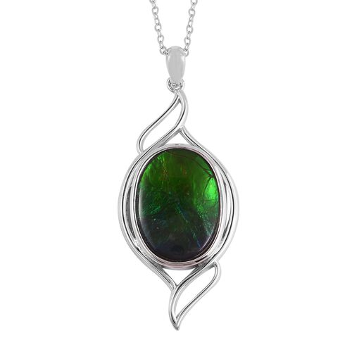 AA Canadian Ammolite (Ovl 18x13 mm) Pendant With Chain in Rhodium Overlay Sterling Silver.