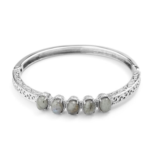Labradorite Bangle (Size 7) in Stainless Steel 1.25 Ct.
