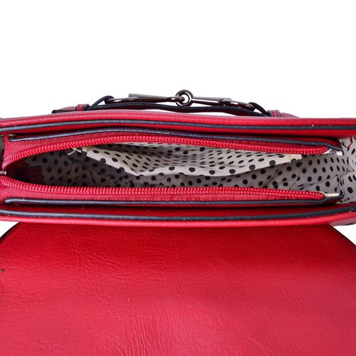 Red Colour Horsebit Buckle Design Crossbody Bag with Adjustable Shoulder Strap (Size 22.5X19X7.5 Cm)
