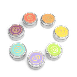 7 Piece Set- Home Decor Seven Chakra Fragranced Soy Candle Tins (Root, Sacral, Navel, Heart, Throat,