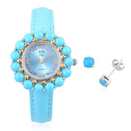 2 Piece Set - EON 1962 Swiss Movement Arizona Sleeping Beauty Turquoise Sterling Silver Watch with Free Earrings Gemstone Wt. 8.000 Ct. Sterling Silver Wt 24 Gms.