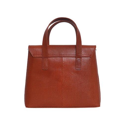 Assots London BENTLEY Lizard Designer Genuine Leather Grab Bag with Detachable and Adjustable Shoulder Strap (Size 25x5x18 Cm) - Red