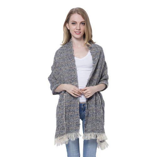 Designer Inspired-Navy, Grey and Multi Colour Stripes Pattern Blanket Shawl (Size 185X60 Cm)