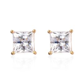 J Francis Made with SWAROVSKI ZIRCONIA Stud Solitaire Earrings in Gold Plated Sterling Silver