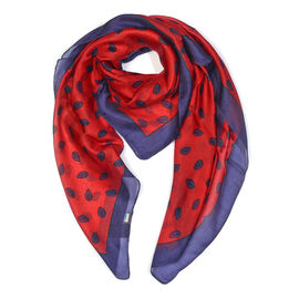 100% Mulberry Silk Printed Scarf (Size 100x100 Cm) - Red