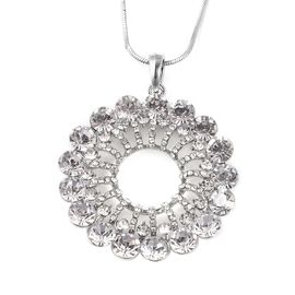 White Austrian Crystal Open Circle Pendant with Chain in Silver Tone