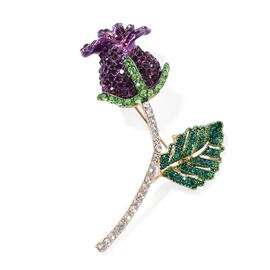 Amethyst Colour and Multi Colour Austrian Crystal (Rnd) Rose Bud Brooch in Yellow Plated