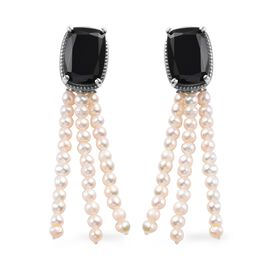 32.50 Ct Boi Ploi Black Spinel and Freshwater Pearl Chandelier Earrings in Platinum Plated Silver