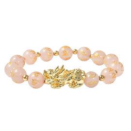 Rose Quartz Stretchable Bracelet (Size-6.5 - 7) in Yellow Tone