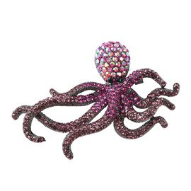 Multicolour Austrian Crystal Octopus Brooch in Black Tone