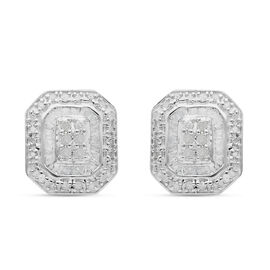 Diamond Cluster Stud Earrings (with Push Back) in Platinum Overlay Sterling Silver 0.50 Ct.