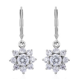 2.25 Ct Made with Swarovski Zirconia Floral Drop Earrings in Platinum Plated Sterling Silver