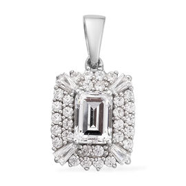 J Francis Platinum Overlay Sterling Silver Pendant Made with SWAROVSKI ZIRCONIA 3.40 Ct.