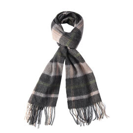 Super Soft Plaid Pattern 97% Wool Scarf (Size 30x167+8cm) - Grey and Black